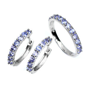 Unheated Round Tanzanite 2.5mm 14K White Gold Plate 925 Sterling Silver Sets