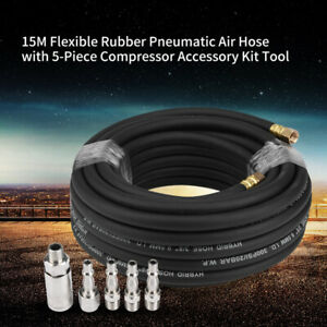 Rubber Air Compressor Hose Line Kit 15M 1/4 '' BSP 9.5mm Bore Heavy Duty Auto UK