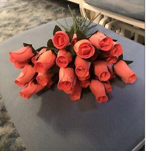 2 DOZEN - Coral WOODEN ROSES ARTIFICIAL FLOWERS
