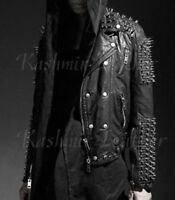 New Mens Punk Full Heavy Metal Long Spiked Studded Black Cowhide Leather Jacket