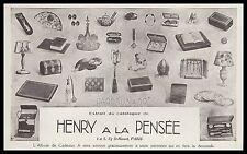 Publicité HENRY A LA PENSEE Bibelots Design Art Deco  vintage print ad 1924 - 2h