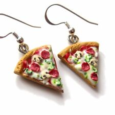 handmade miniature food pizza earrings jewelry BFF best friends forever gifts