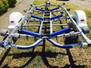Precision boat trailer 5.2 mt total length galvanised drive on roller SKID AVAIL