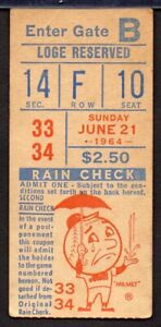 JIM BUNNING PERFECT GAME vs NY METS - STUB  June 21,1964 Shea Stadium