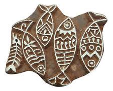 Fisch-Muster handgeschnitzte Holz Blöcke Textile Stempel braun Holzblock drucken