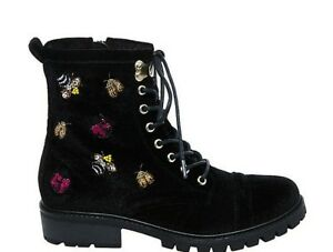 New BETSEY JOHNSON Women's Bugsy Velvet Lace-up Boots Size 6.5 (M) Ret $79.00