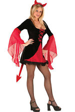 Ladies Halloween Devil Costume 3 Pieces Velvet Dress Headband & Thong Size 10-12
