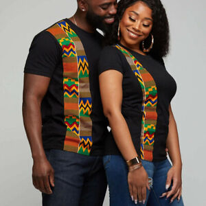 Men Women African Printed T-Shirt Short Sleeve Round Neck Casual Tee Tops Blouse