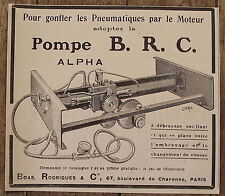 Publicité ancienne Pompe BRC Alpha,gonflage pneus,Boas Rodrigues, 1907