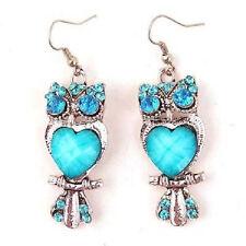 RETRO STYLE OWL HEART ELEGANT BLUE DANGLE EARRINGS WITH RHINESTONE 68