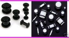 2 PAIRS 00g Black White Acrylic PLUGS ear gauges stretching gauging