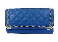 BLUE FAUX LEATHER QUILTED Handbag Clutch Shoulder Bag Cross Body Messenger