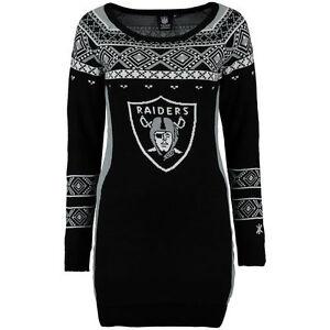 Women's Oakland Raiders Klew Black Big Logo Ugly Sweater Dress All Sizes