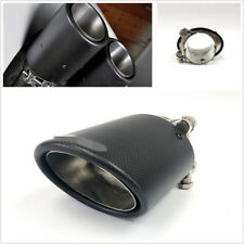 Durable Matte Black Oval Carbon Fibre Car Tail Exhaust Muffler Pipe Tip 63mm in