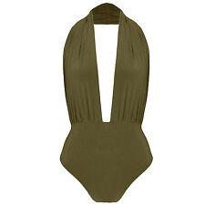 Halterneck Plunge Neck Slinky Backless Bodysuit Leotard Bodycon Stretch Top UK 6 Khaki