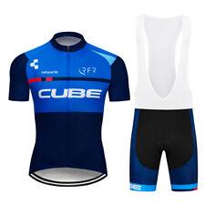 Men Blue Cycling Jersey Bib Shorts Sets Summer Short Sleeve Gel Pad Strap Shorts