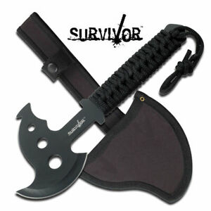 "10.5"" SURVIVOR X-17 STAINLESS STEEL AXE W/NYLON SHEATH + CORD WRAPPED HANDLE"
