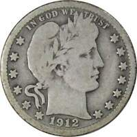 1912 S 25c Barber Silver Quarter US Coin Average Circulated