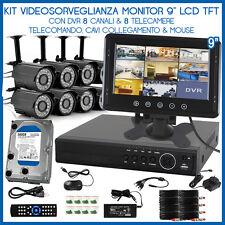 """Kit VIdeo Sorveglianza DVR 8 Canali Web Cellulare Monitor 9"""" Telecamere HD IR"""
