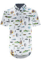 Men Button Up Shirt White Fishing Fish Collar Print Short Sleeve Sizes S-XL
