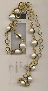 KENNETH LANE  FAUX PEARL LONG GOLD NECKLACE