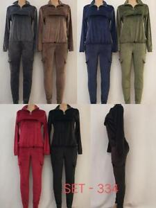 New Womens Cargo Jogging Bottom Loungewear Velvet Velour 2Pcs Hooded Tracksuit