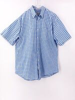 Peter Millar Mens Short Sleeve Button Down Shirt Size Large Plaid Checked