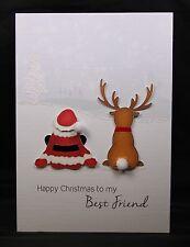 Personalised Handmade Christmas Card by Bijou Crafts; Best Friends Santa Rudolph