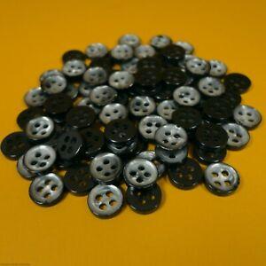 Charcoal Grey/Pearl Tone - 4 Hole Plastic Buttons (10 grams per bag) (8mm Dia)