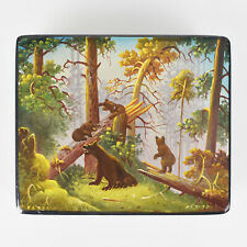 Vintage Lacquered Miniature Trinket Box Fedoskino Bear Cubs Russian Signed