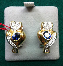 NEW 18CT Solid Gold Diamond & Sapphire Cluster Earrings