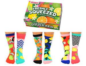 SQUEEZE ODD SOCKS LADIES FRUIT ZESTY UNITED ODDSOCKS UK 4 - 8 GIFT BOX GIFT IDEA