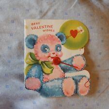 Vintage Valentine's Day Card Miller Art 153V10 WISHES - Pink & Blue Panda