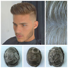 Mens Hair Replacement System Toupee Ultra Thin Skin Human Hair Wigs Hairpieces