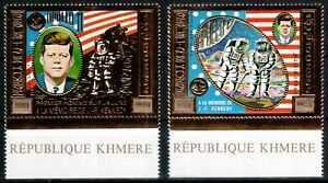 Cambodia Khmer Rep 1974, gold, president Kennedy, JFK, space, MNH! CV 240,- €!