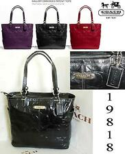 COACH GALLERY EMBOSSED PATENT LEATHER NORTH/SOUTH TOTE BLACK F19818