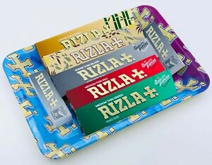 RIZLA Small Multi Tobacco Metal Rolling Tray Natura Bamboo Red Smoking Papers