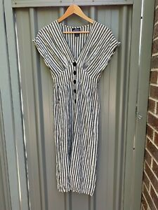 ANGIE rayon black white stripe short sleeve cropped mid thigh jumpsuit size L
