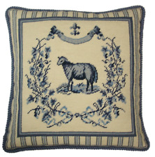 "19"" x 19"" Handmade Wool Needlepoint French Country Sheep Pillow"