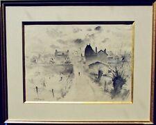 Martin HUBRECHT Célèbre peintre Strasbourg ALSACE Reims Superbe lavis signé 1940
