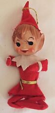 """Pixie Elf Christmas Ornament...red white felt outfit; plastic face 5""""H"""