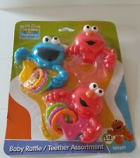 NEW Sesame Street Beginnings Baby 3 Piece Rattle and Teether Set Hand Held Toy