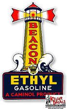 "12"" BEACON ETHYL GASOLINE GAS PUMP TANK DECAL STICKER"