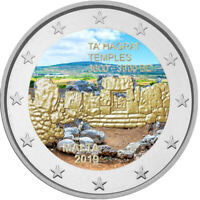 2 Euro Gedenkmünze Malta 2019 Ta Hagrat coloriert mit Farbe / Farbmünze    2