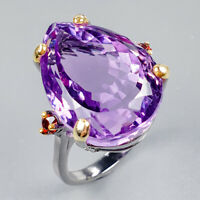Fine Art Jewelry Natural Amethyst 925 Sterling Silver Ring Size 9/R122708