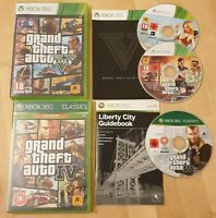 GTA IV 4 and Grand Theft Auto V 5 - Xbox 360 games + manuals rockstar