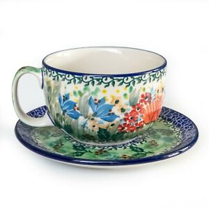 Cup (12oz) with saucer, hand decorated Boleslawiec / Poland pottery