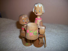 Very Cute Wooden Woman and Child with Bucket & Fish Figurine