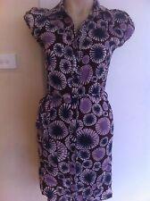 Ladies Batik Style CHERRIE Shirt Dress Size 8 Summer Belted Purple Blue Cotton