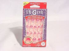 IT GIRL NAILS JUST PRESS AND GO PRE-GLUE 20 NAILS #D206 #PINK & WHITE SPARKLES